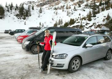 VIP parking in ski resort